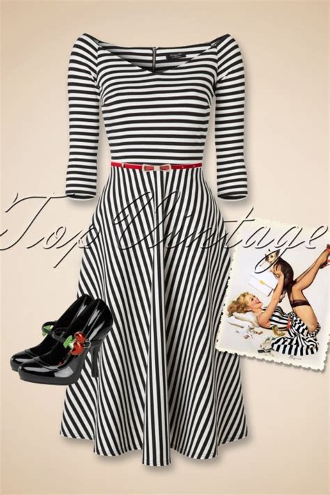 alma swing 50s alma swing 3 4 sleeve dress with black and white stripes