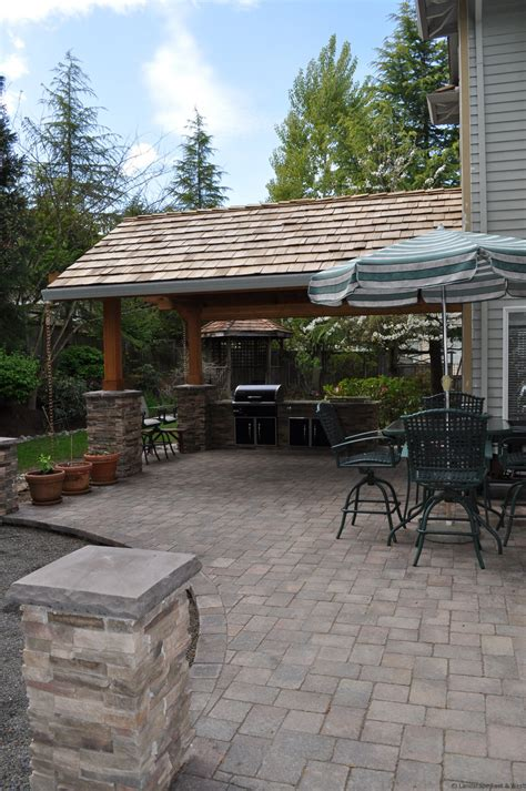 covered patio outdoor kitchen designs for portland oregon landscaping