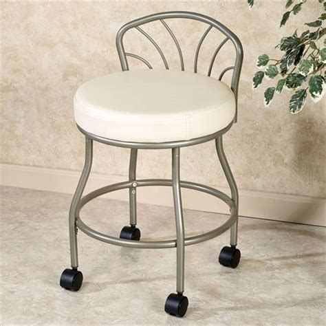 Vanity Stools With Wheels by Flare Back Powder Coat Nickel Finish Vanity Chair With Casters