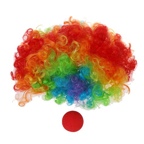 colored clown foam clown nose multi colored clown wig for masquerade