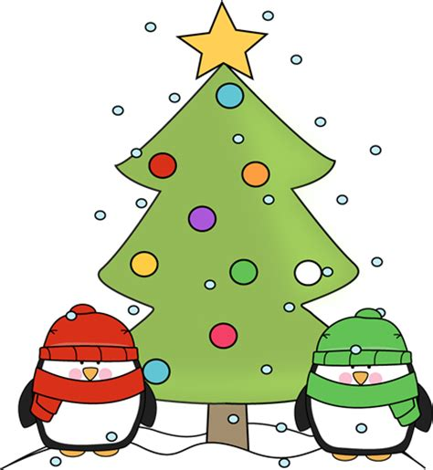 cartoon christmas tree december penguins and tree clip penguins and tree image