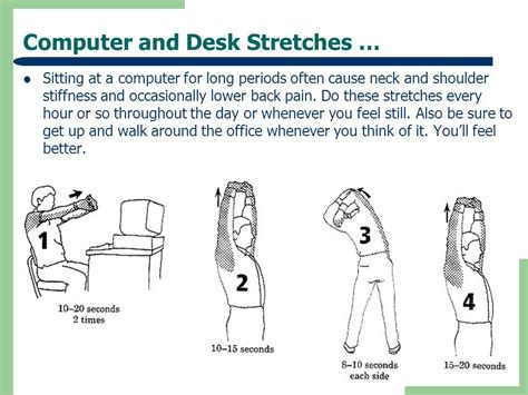 Computer And Desk Stretches Ergonomic Tips For Computer Users Ppt