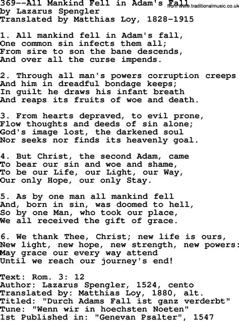 lyrics by mankind lutheran hymns song 369 all mankind fell in adam s fall