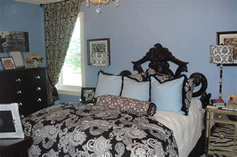 blue and black bedroom