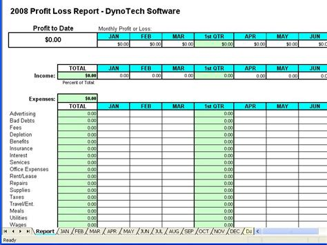 Profit Spreadsheet by Profit Loss Report Spreadsheet Screenshot Page