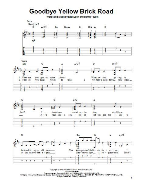 road song list goodbye yellow brick road guitar tab by elton guitar