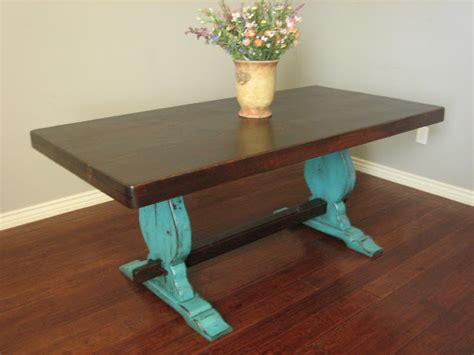 European Paint Finishes Rustic Turquoise Trestle Table Rustic Turquoise Dining Table