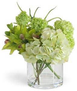 green cymbidium orchid and hydrangea arrangement
