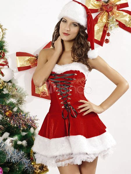 bedroom costume for women lace up layered polyester christmas bedroom costume for