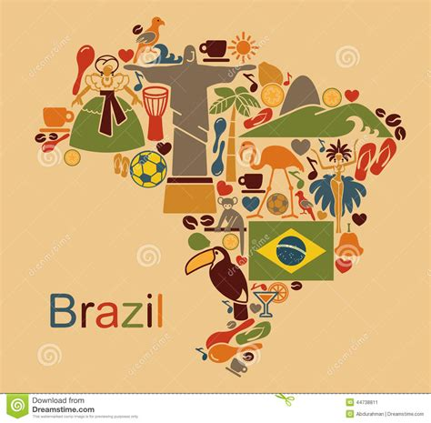 brazil map stock vector illustration of coffee animals