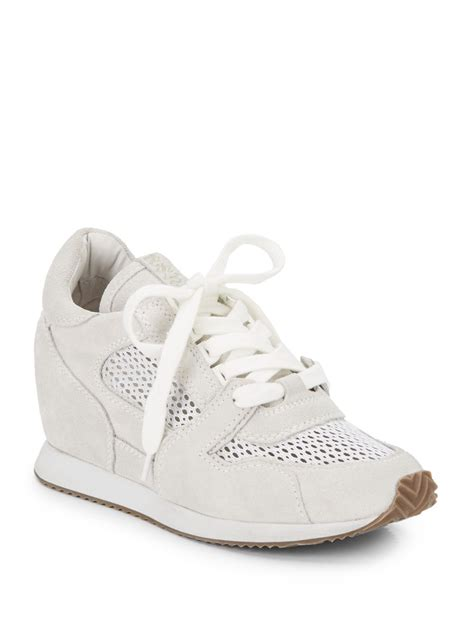 sneaker wedges white lyst ash dean mesh suede wedge running sneakers in white