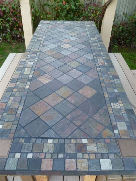 Mosaic Tile Patio Table My Husband Turned An Solid Door Into A Slate Tiled Table Diy Tile