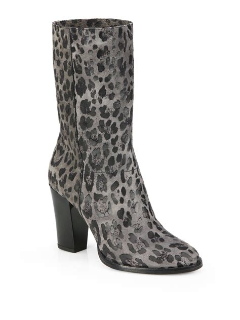 jimmy choo leopard print suede mid calf boots in