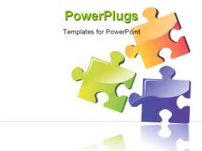 powerpoint puzzle template illustration of three colour puzzle boards with building