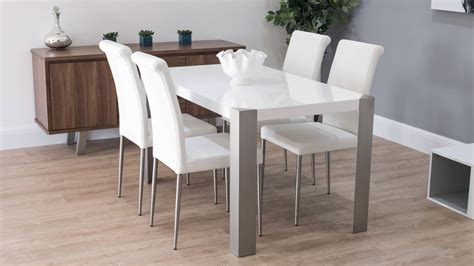 modern 6 seater white gloss dining table set modern white gloss dining table with real leather dining chairs seats 6