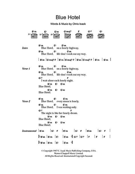 blue lyrics tom blue hotel sheet by chris isaak lyrics chords
