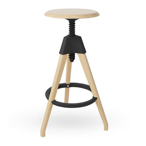 Wooden High Stool Black Wood Adjustable Stool