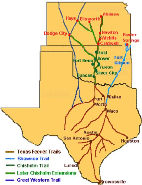 texas cattle trails map image gallery sedalia trail