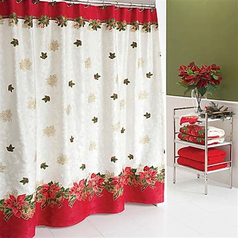 bed bath and beyond christmas shower curtains lenox 174 poinsettia tartan shower curtain bed bath beyond