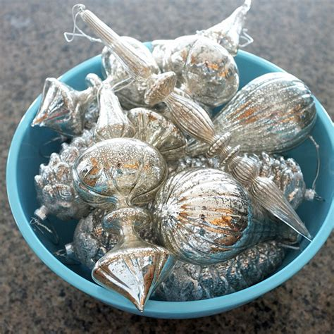 mercury glass christmas tree and teal mercury glass ornaments