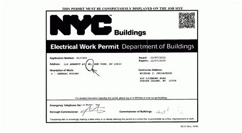 energized electrical work permit template rosenyc tenants at 110 ave a lawful