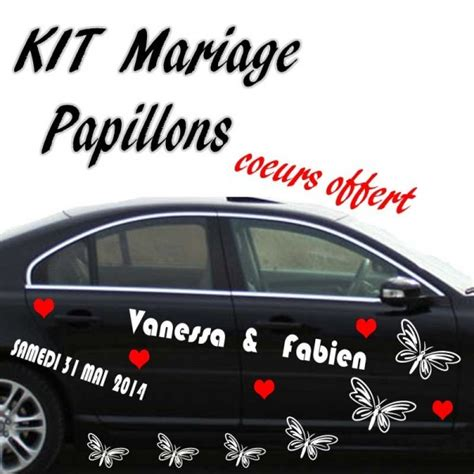 kit decoration voiture mariage stickers mariage voiture papillons 183 184 184 stickers