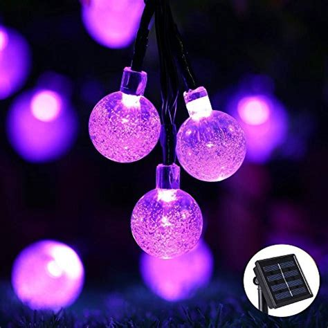 purple string lights icicle solar string lights 20ft 30 led waterproof