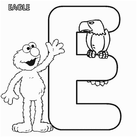 coloring pages with e abc letter e eagle sesame street elmo coloring page