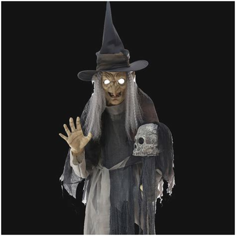Wiccan Home Decor life size lunging witch animated prop mad about horror