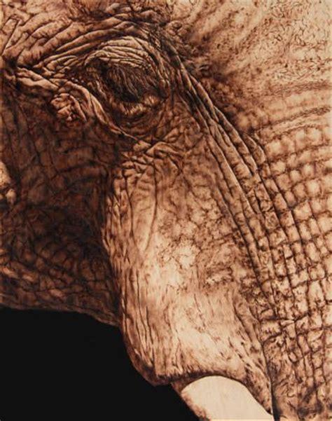 photorealistic portrait   elephant  wood burning