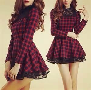 Plaid Flannel Duvet Dress Lace Collar Tartan Checkered Red Dress Black