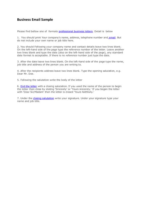 Model Business Letters Emails Pdf Professional Business Email Format Template Exle Sle