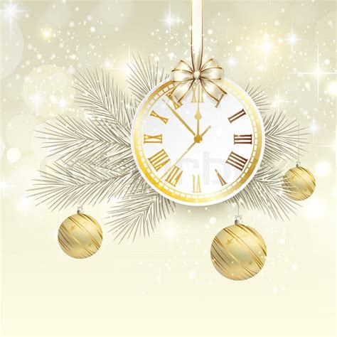 new year graphic and background new year vector background with gold clock stock vector
