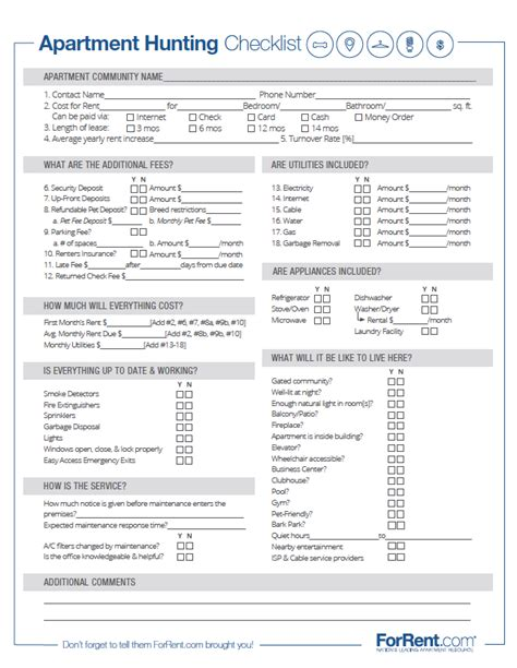 Apartment Checklist Pdf Apartment Checklist Forrent Free