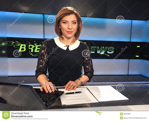 Reporter Tv by Tv Reporter At The News Desk Stock Photo Image 55610961
