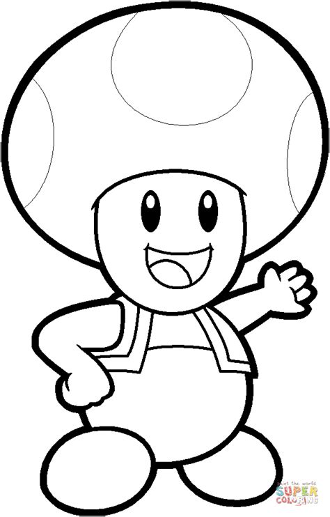 Toad Mario Coloring Pages toad from mario bros coloring page free printable