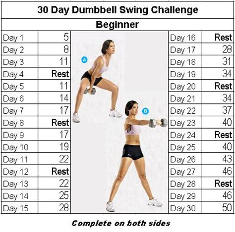 swing challenge fitness challenge 30 day dumbbell swing bodies and