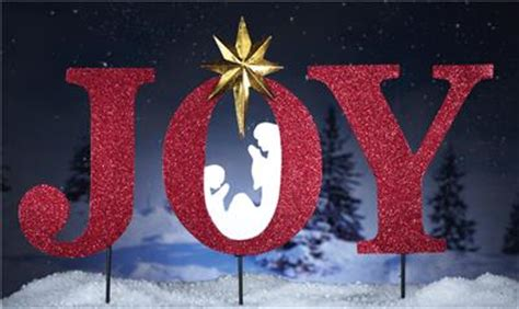 3 piece glittering joy letters staked outdoor christmas