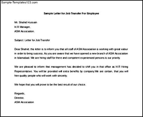 Transfer Letter To Employer Sle Letter For Transfer For Employee Free Sle Templates