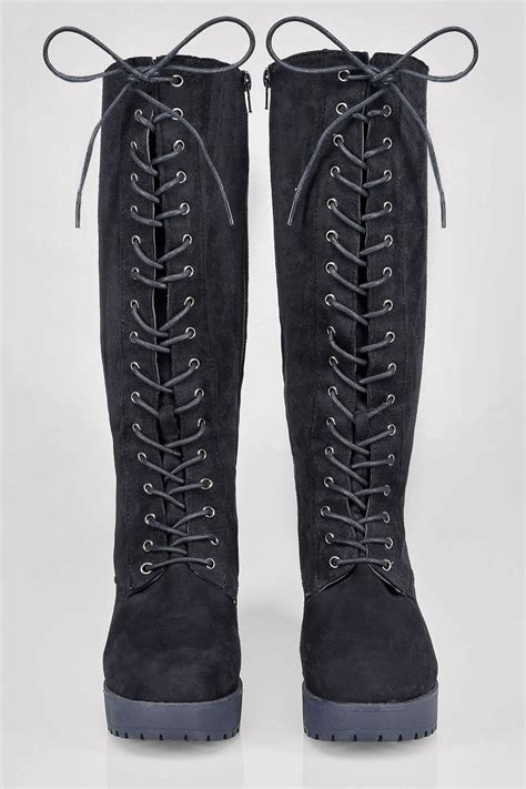 Lace Up black knee high lace up heeled boot in eee fit 4eee 5eee