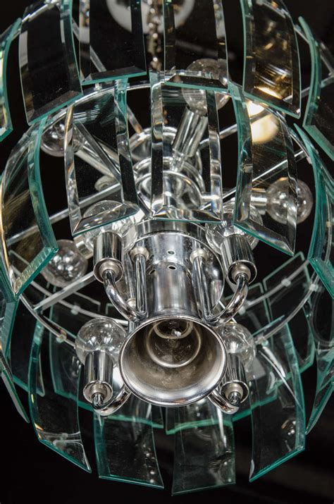 Beveled Glass Chandelier Mid Century Modernist Two Tier Beveled Glass Chandelier By Lightolier At 1stdibs