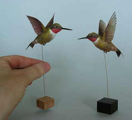 Papercraft Bird Template - this model of the ruby throated hummingbird is available