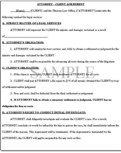 fee agreement template sle retainer agreement