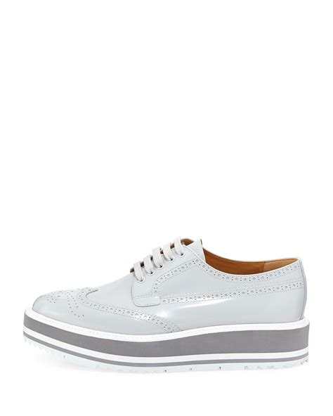 Prada Lightly Sneakers Import lyst prada platform brogue trim leather oxfords in gray