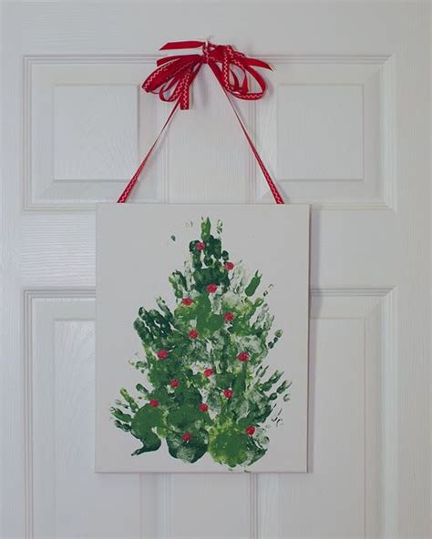 handprint christmas tree on canvas toddler craft a
