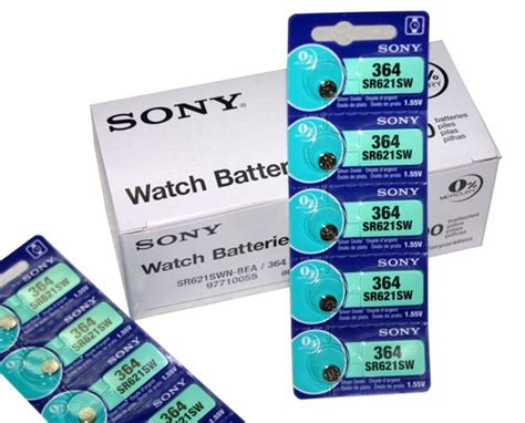 sony sr621sw 364 silver oxide coin batteries 5 pcs made in