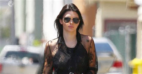 Kr1442 Oudre Lace Top With Inner By Khloes Room Atasan Brokat kendall jenner wears sheer lace top at lunch with kourtney khloe kendall jenner