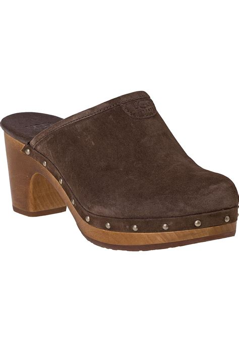suede clogs for lyst ugg abbie clog espresso suede in brown