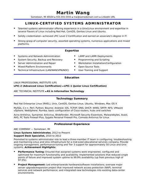 system administrator experience resume format luxury system network