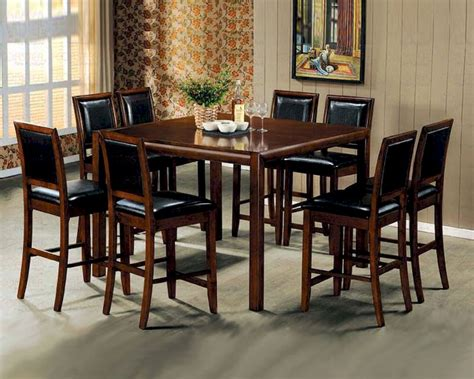 Counter Height Dining Room Sets Contemporary Counter Height Dining Room Set In Walnut